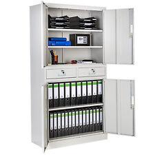 Aktenschrank mit 2 Schubladen 4 Türen abschließbar Büroschrank Metallschrank