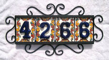 4 Mexican BLUE House Numbers Tiles with HORIZONTAL Iron Frame