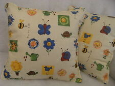 """HAPPY GARDEN BY PRESTIGIOUS 1 PAIR OF 18"""" CUSHION COVERS - DOUBLE SIDED & PIPED"""