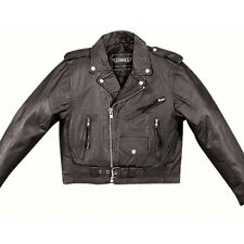 Kids  Classic Motorcycle Jacket - Black Leather - 16 - Boys Biker Coat - Childs