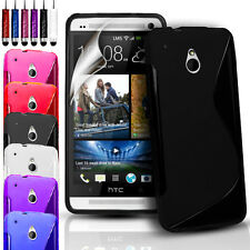 S-Line Silicone Gel Case Cover Pouch For HTC One Mini M4 & FREE Screen Protector