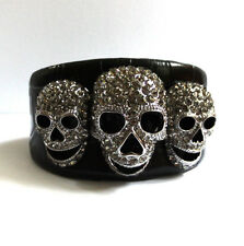 Butler and Wilson Pewter Crystal Three Skull Leather Cuff Bangle NEW
