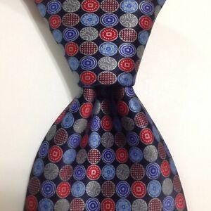 ERMENEGILDO ZEGNA Men's 100% Silk Necktie ITALY Luxury Geometric Blue/Red NEW