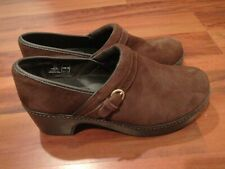 LANDS END 434571 Womens Suede Slip On Clogs Shoes Brown Size 9