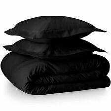King Size Black Home Duvet Cover and Sham Set - Premium 1800 Ultra-Soft Brushed