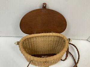 Vintage Nantucket Wicker Basket Purse Braided Leather Shoulder Strap