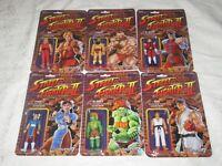 "Super7 ReAction Street Fighter II 3.75"" Regular Edition Set of 6 Blanka Ken Ryu"