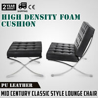 Modern Classic Barcelona Style Lounge Chair & Ottoman Premium PU Leather