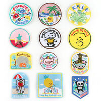 Round Cartoon Badge DIY Embroidered Sew Iron On Patches Clothing Fabric Applique