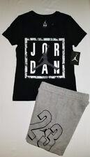 Nike Air Jordan Girls 2 PC Set Shirt Tee & Fleece Shorts Outfit Size XL