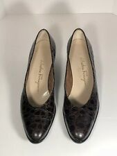 aabcdc727 Salvatore Ferragamo 8.5 3A Brown Croc Embossed Leather Wedges Shoes Dress  GUC