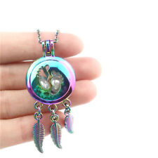 """C785 Stainless Chain 20"""" Rainbow Colorful Baby Footprint Dream Catcher Necklace"""