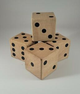 4 Solid Wood Jumbo Large Dice Party Home Decor Yard Patio Outdoor Game Room
