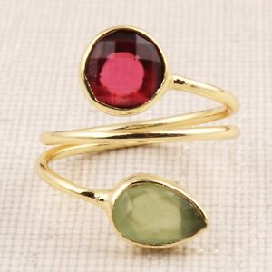Green Chalcedony Red Hydro Quartz  Round Pear Shape Gold Plated Adjustable Ring