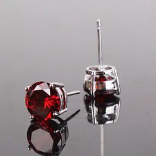 gold filled round simulated diamond Red Garnet Ruby Stud earrings 18ct white