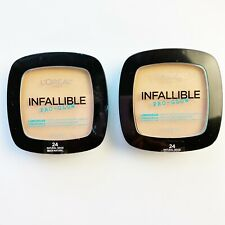 2 L'Oreal Paris Infallible Pro-Glow Foundation Pressed Powder Natural Beige #24