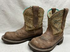Ariat 10015363 Women's 6.5 B Ruffed Up Brown Leather Western Cowgirl Ride Boots