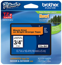 "Brother 3/4"" (18mm) Black on Orange P-touch Tape for PTD400, PT-D400AD Printer"