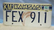 Vintage 1992  Kansas License Plate Tag Man Cave Garage Den Used (Emergency) 911
