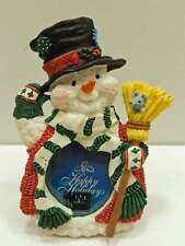 Small Christmas Holiday Snowman w/ Hat & Broom Photo Picture Frame