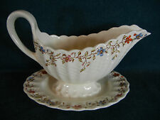 Copeland Spode Wicker Dale Gravy Boat with Attached Under Plate