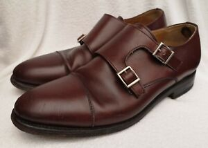 BERWICK 1707 Men's Brown Leather Double Monk Shoes Size UK 6.5 Used Condition