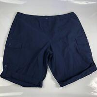 Ellos Womens Navy Blue Bermuda Shorts Size 22