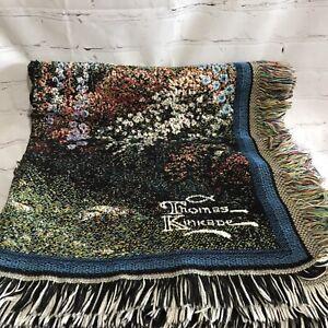 Thomas Kinkade Tapestry Throw Blanket Lamplight Bridge Painter of Light USA Made