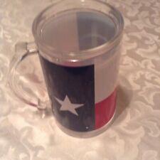 Usa beer mug stein freezer Texas flag insulated plastic 14 oz red white blue