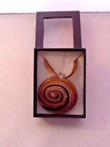 Murano Grande Necklace Glass Art Brown Spiral Round Boxed