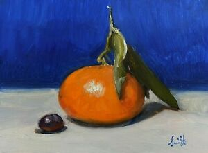 Oil Painting; Clementine with a grape. Original impressionist still life.