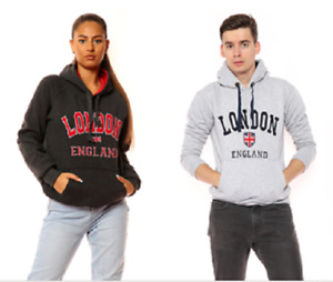 Men's Unisex Hoodie London England Hooded Sweatshirt Jumper Fleece 4 Colours