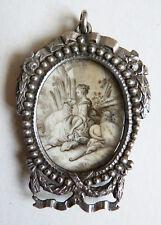 Peinture dessin miniature du 18e siècle/ début 19e avec cadre en argent Bergère