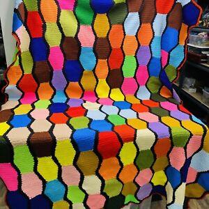 Vintage Multicolor Crochet Granny Square Roseanne Afghan Blanket 56x84 Unique