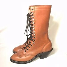 VINTAGE WOMENS OLATHE ROPER KILTIE BOOTS SIZE 7A TALL BOOTS COWGIRL STEAMPUNK