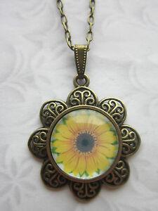 Sun flower Neclace Glass Cabochon Pendant Vintage Look Costume Jewellery Made UK