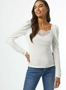 Dorothy Perkins Ivory Lace Trim Ribbed Top Size 12 Puff Sleeves BNWT