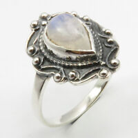 925 Solid Silver Drop Rainbow Moonstone Ring Size 7 Ladies Stone Jewelry