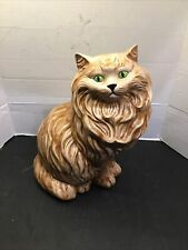 "Vintage Ceramic Brown Long Hair Cat Figurine Statue Large 14"" Green Eyes Clean"