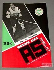 1966-67 AHL Quebec Aces Program Bill Sutherland Cover
