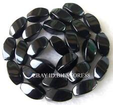 """Cut Faceted Rectangle Twist AAA Natural Onyx Black Agate Gemstone Beads 15"""""""