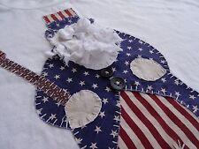 Novelty American Uncle Sam Santa Claus stitch applique sewn Usa flag Xl T-shirt