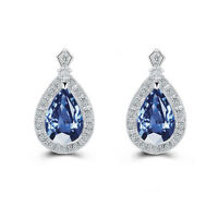 Sapphire Dark Blue Tears Pear Shape Women Evening Luxury Earrings E1226