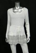 MOTHERHOOD MATERNITY NEW Ivory/Gray Print Hem Tie Back Scoop Neck Sweater sz M