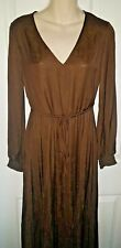 M&S PER UNA SATIN JACQUARD V-NECK BROWN  SHIRRED DETAIL MIDI DRESS SIZE 8 BNWT