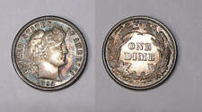 1892-P BARBER DIME FIRST YEAR CHOICE BU COLOR. INV#FP-1-29