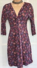 FAT FACE 10 vgc knot front burgundy cream floral 3/4 sleeve knee length dress