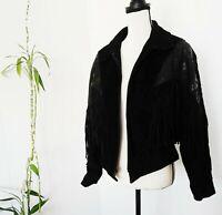 Vtg 80's CHIA Black Leather Jacket Large Fringe Suede Nubuck Western Cowboy Coat