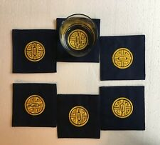 holiday festival Dark blue coasters with golden embroidery  6 piece set