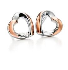 Pendientes de joyería de metales preciosos sin piedras de oro rosa plata